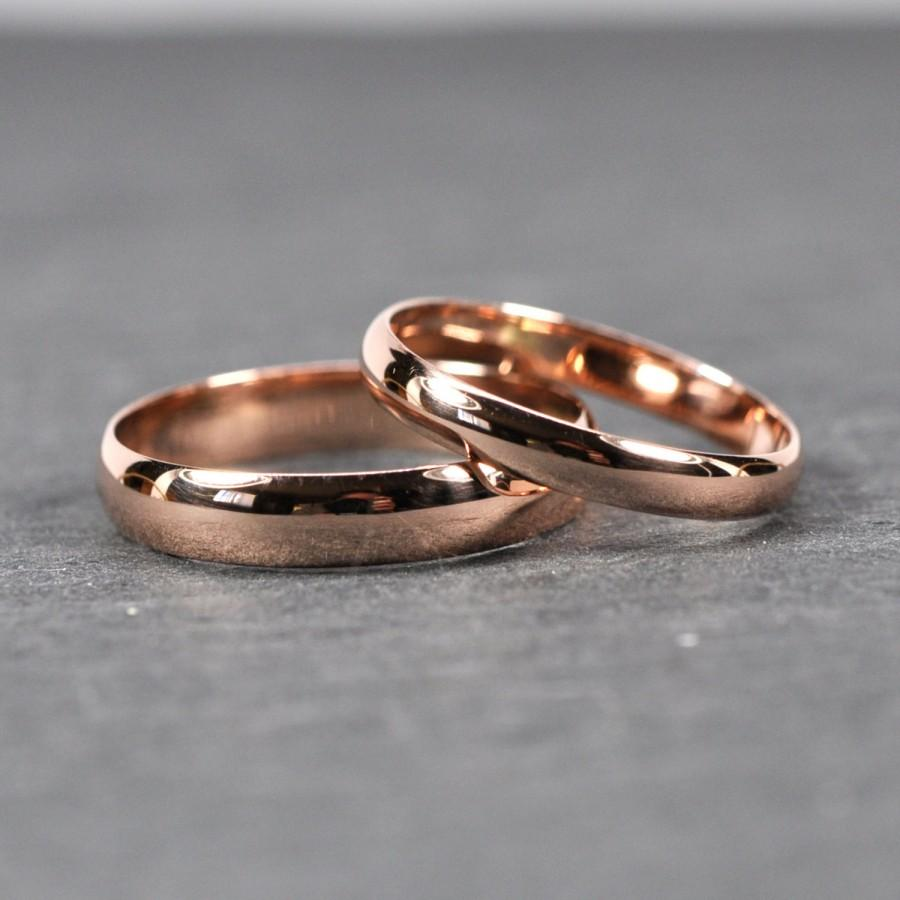 Mariage - Rose Gold Wedding Band Set, Solid 14K Rose Gold Rings, Half Round Classic Style, Customizable, 3mm and 4mm Wide, Sea Babe Jewelry