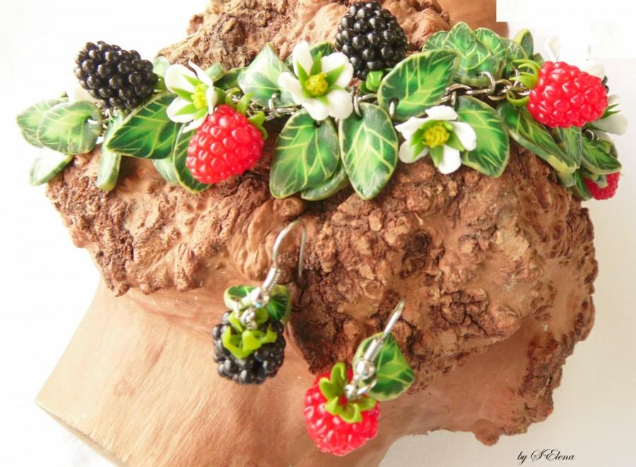 Wedding - set raspberries blackberries polymer clay jewelry bright berries gift for her berry jewelry Woodland style summer jewelry idea gift birthday