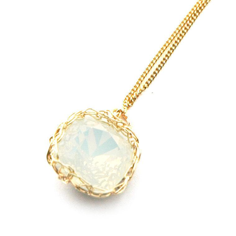 Mariage - Swarovski glass necklace white opal Pendant necklace gold wire crochet pendant knitted sparkle jewelry bridesmaides gift