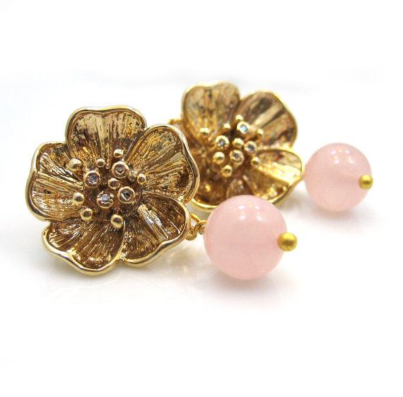 Mariage - Pink Gold Rose Earrings. Flower Earrings. Pink Gemstone Earrings - ROSABEL