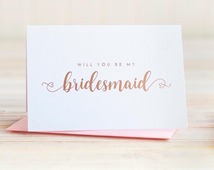 Hochzeit - Will You Be My Bridesmaid Card Rose Gold Foil ask bridesmaid proposal gift box bridal party card bridesmaid invitation blush pink heart box