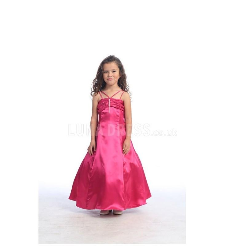 Mariage - Satin A line Ruched Ankle Length Spaghetti Straps Flower Girl Dress - Compelling Wedding Dresses
