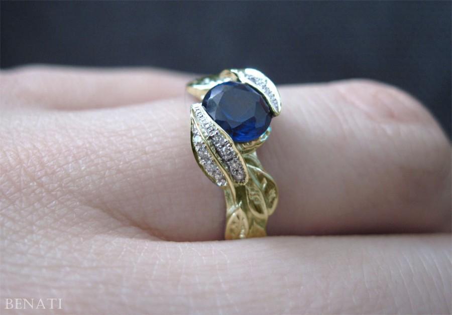 Mariage - Sapphire Leaf Engagement Ring, Leaf Sapphire Engagement Ring, Diamond Leaf Ring & Lab Blue Sapphire, Natural Floral Leaves Engagement Ring