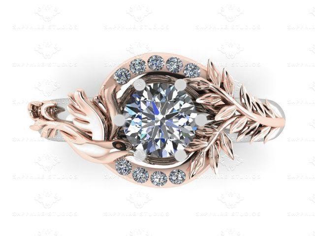 Mariage - Parisian Round 1.25ct Dove White/Rose Gold Engagement Ring