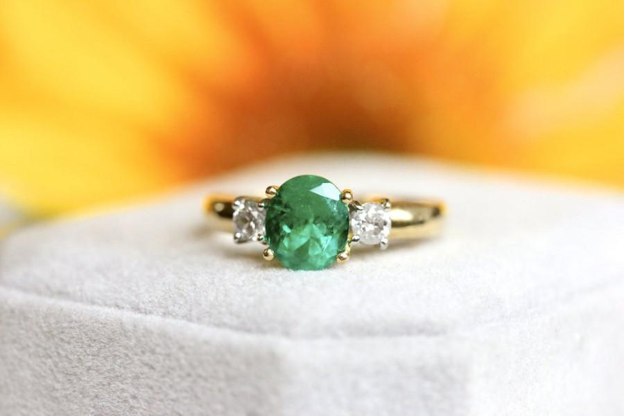 Mariage - VINTAGE ESTATE, 1.10ct Columbian Emerald ring, 18K yellow gold, accented with genuine diamonds