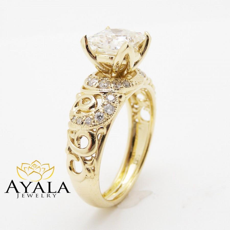 Mariage - Unique Princess Cut Engagement Ring  14K Yellow Gold Princess Cut Moissanite Ring Art Deco Engagement Ring