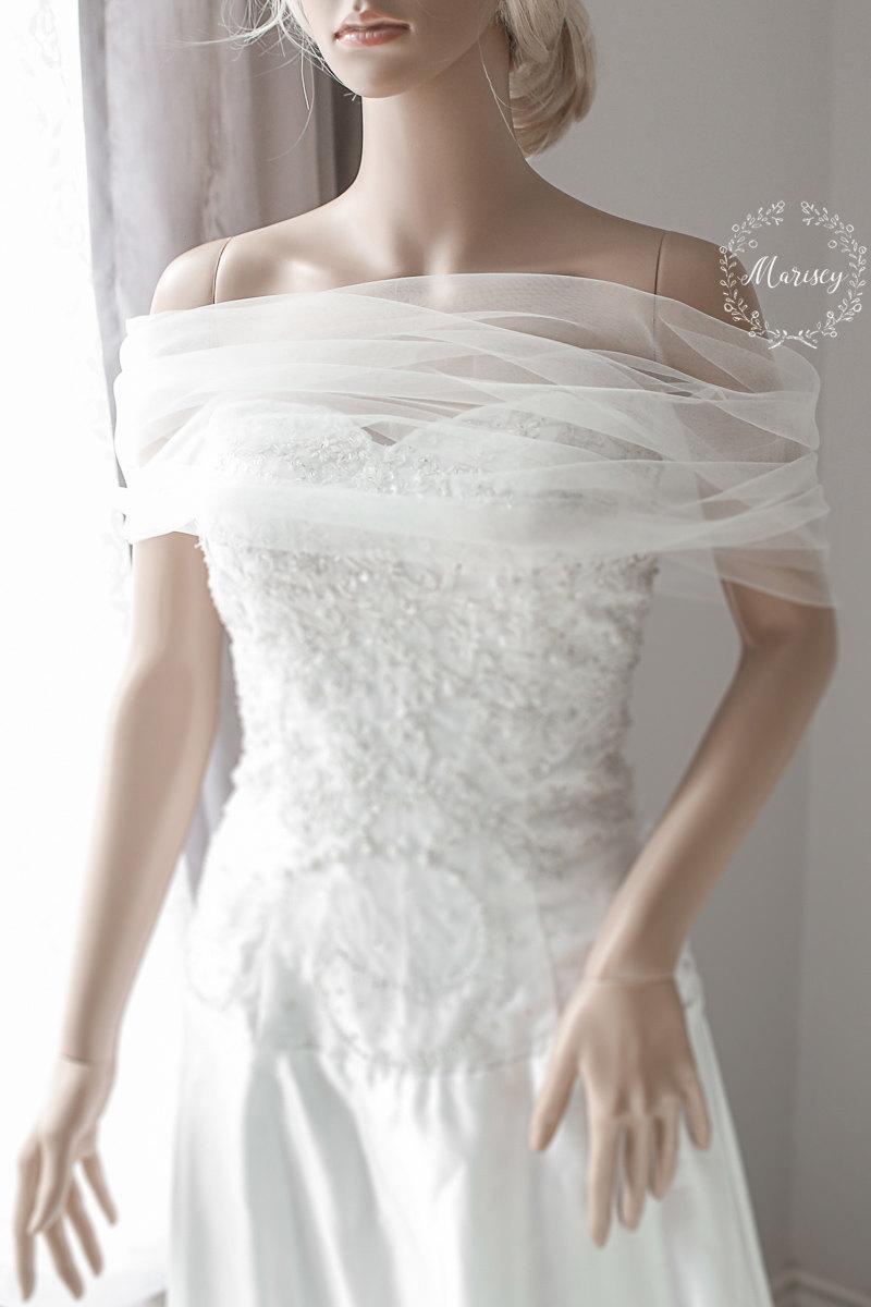Mariage - Bridal Wrap, Wedding Cover Up, Wedding Shrug, Bridal Bolero in silk tulle white or ivory bridal shawl. Can be worn two ways!