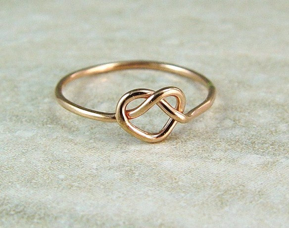 Mariage - Promise Ring / Rose Gold Heart Ring / Love Knot / Infinity Ring / Sweetheart Ring / Wedding Ring