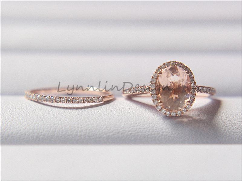 Mariage - Bridal Set 14K Rose Gold Ring 6x8mm Morganite Engagement Ring Morganite Wedding Ring Halo Diamond Ring Diamond Wedding Band Anniversary Band