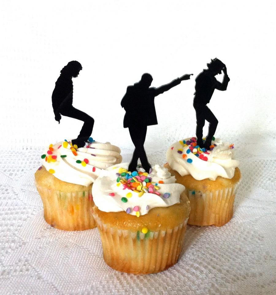 Mariage - Michael Jackson Cupcake Toppers Set of 3 Michael Jackson Cake Topper Michael Jackson Fan Michael Jackson Dancing Pose Wedding Cake Topper