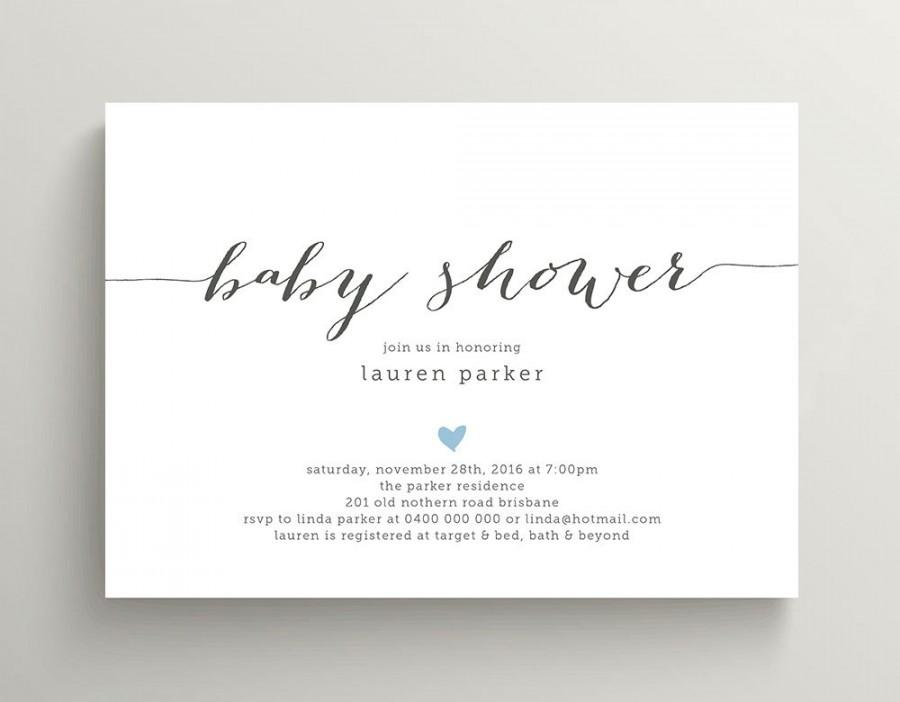 Printable Baby Shower Invitation Simple And Sweet Love Heart Design Charcoal Pink Ba13