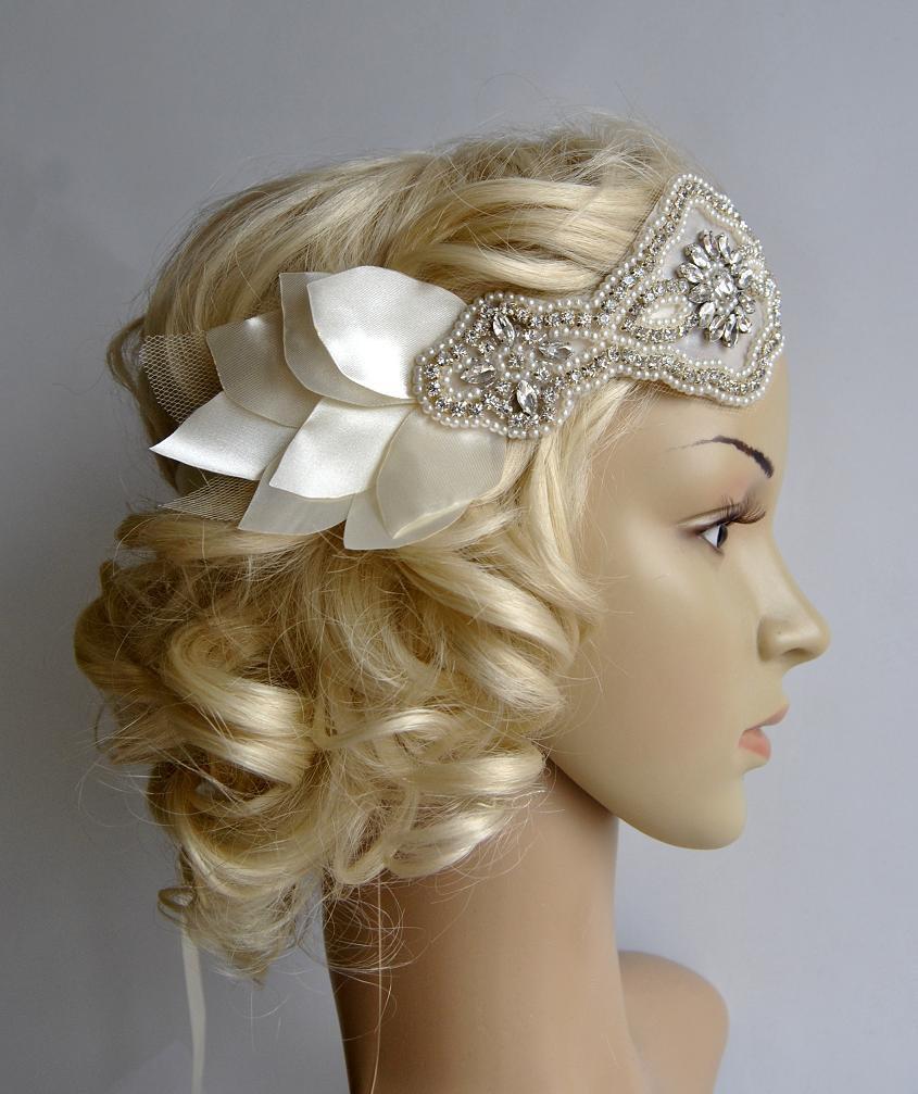 Wedding - Bridal 1920s Bandeau petal headband, The Great Gatsby Headband, 1920s Headpiece, Flapper 1920's,Ivory petal rhinestone crystal headband,