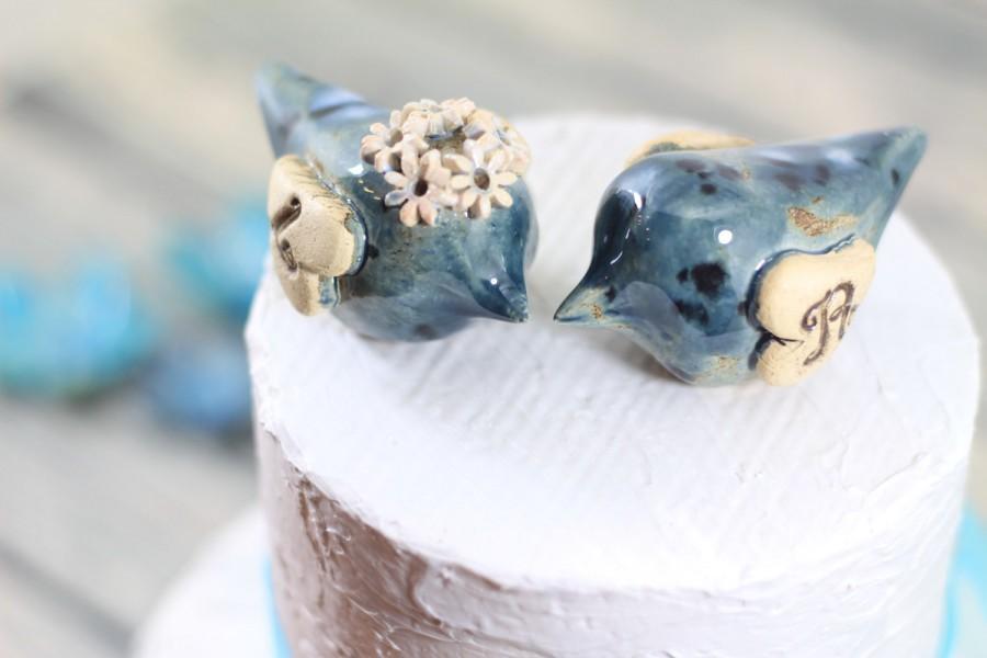 Mariage - Love bird cake topper Initials cake topper Wedding cake topper Blue wedding