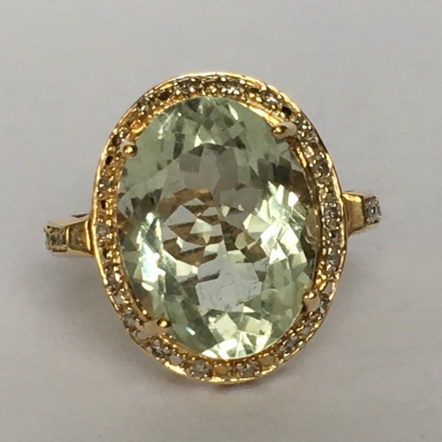 Mariage - Vintage Aquamarine Ring. Diamond Halo. 14k Yellow Gold. Unique Engagement Ring. March Birthstone. 19th Anniversary. Estate Jewelry.
