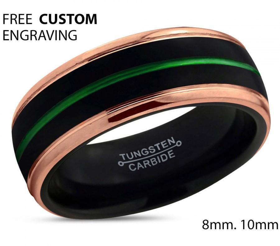 Mariage - Black Tungsten Green Ring Rose Gold Wedding Band Ring Tungsten Carbide 8mm 18K Ring Man Wedding Band Male Women Anniversary Matching