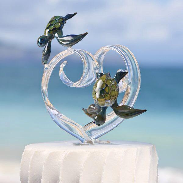 Mariage - Custom Glass Heart Wedding Cake Topper with Two Turtles