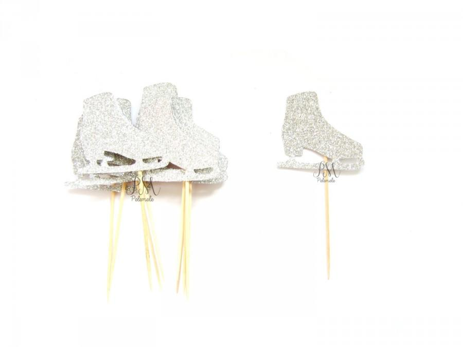 Mariage - 12 Silver Glitter Ice Skate Cupcake Toppers  -  Birthday Cupcake Topper, silver birthday cake topper, christmas cupcake topper