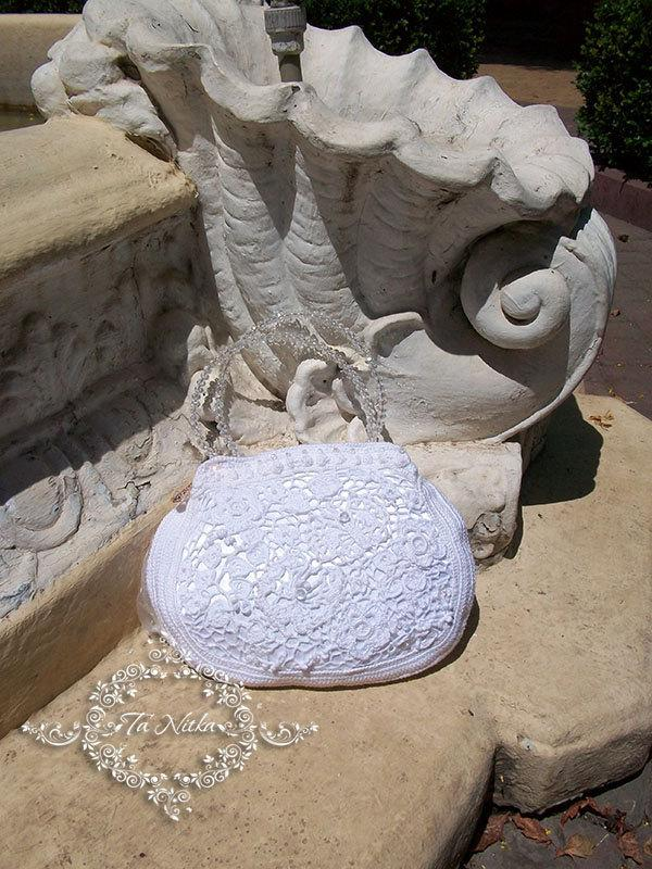 Wedding - Bag Lace Romantic Bridal White Handbag Vintage Style Crochet Gepure Irish Lace Wedding Luxury - $115.00 USD