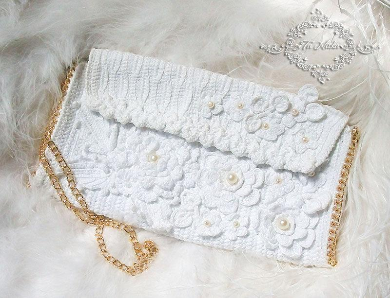 Elegant Women Handbag Bridal Clutch Irish Lace Wedding White Flowers