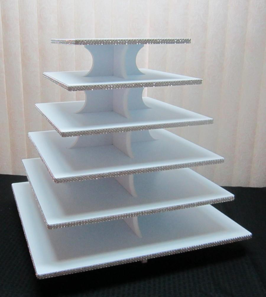 Свадьба - 150 - 200 Cupcakes - 6 Tier Square Cupcake Stand, Sparkly Rhinestone Mesh, Wedding, Quinceanera, Sweet 16, Anniversary, Birthday, 12 colors!
