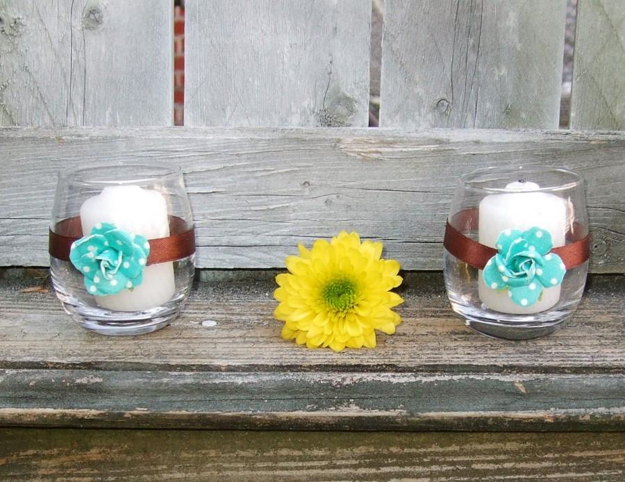 Brown And Turquoise Wedding Decor Wedding Votive Candle Holder