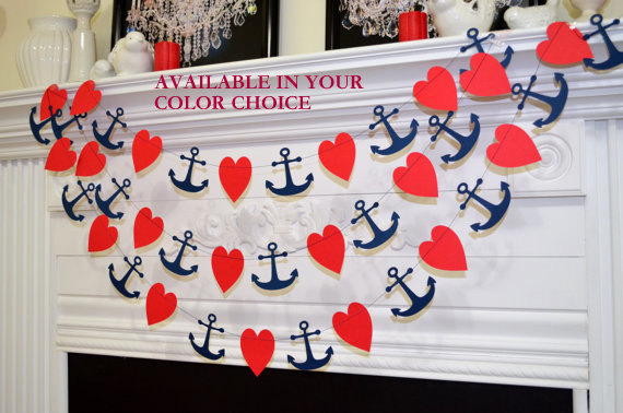Свадьба - Anchor garland anchor bridal shower, red heart navy anchor garland, bridal shower decorations
