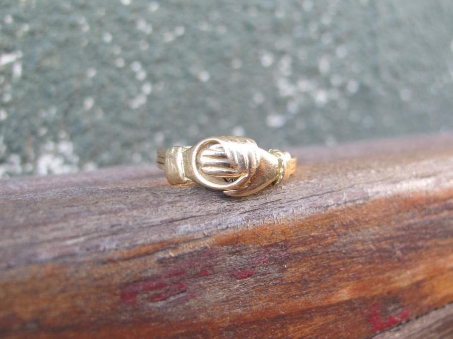 Mariage - Antique 18k Yellow Gold Fede Gimmel Ring with Diamond Heart