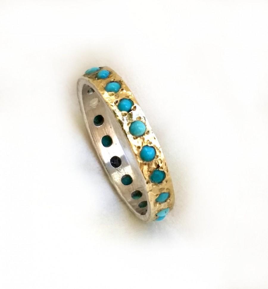 زفاف - Something blue engagement ring, gorgeous turquoise engagement ring, most popular ring, sterling silver and gold set with turquoise, ilanamir