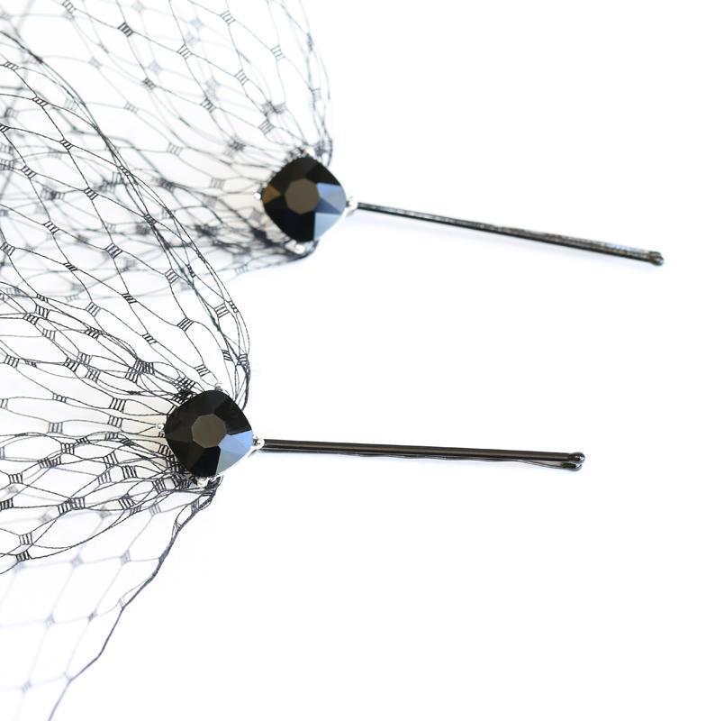 زفاف - Black French Netting Birdcage Visor Bandeau Veil Black Crystal Bobby Pins