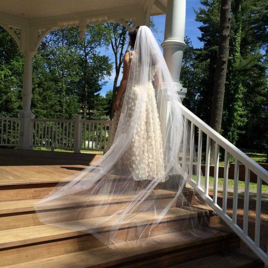 Hochzeit - Cathedral Veil, Wedding Veil Made to Order,  Single Tier Bridal Veiling, Waltz Length, Chapel Length, Royal,  Style No. 4139