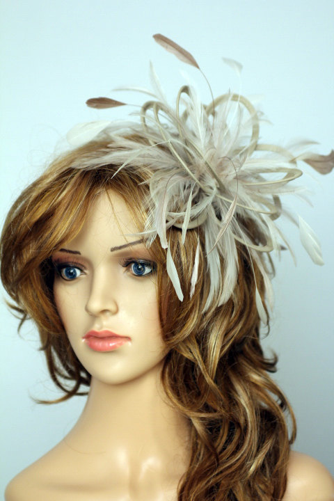 Mariage - Taupe Nude and Cream Feather Fascinator Hat - wedding, ladies day - choose any colour feathers and satin