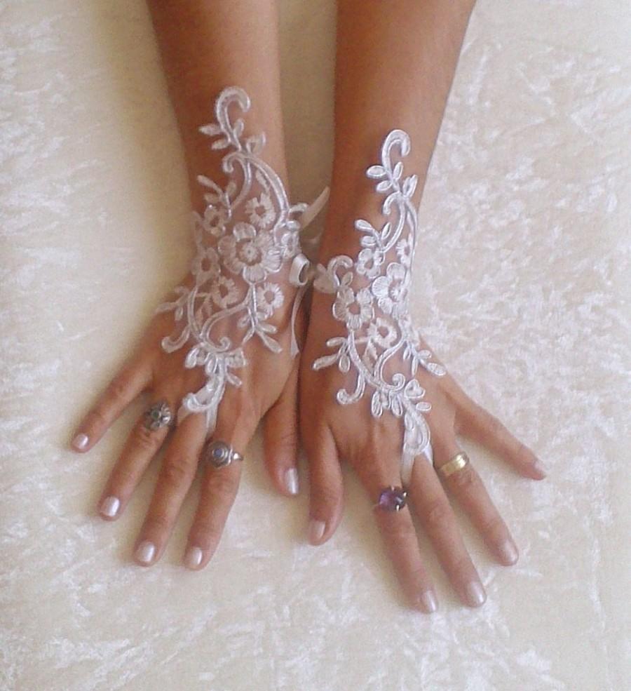 Wedding - Ivory Wedding gloves bridal gloves lace gloves fingerless gloves ivory gloves guantes french lace silver frame gloves free ship 8639W