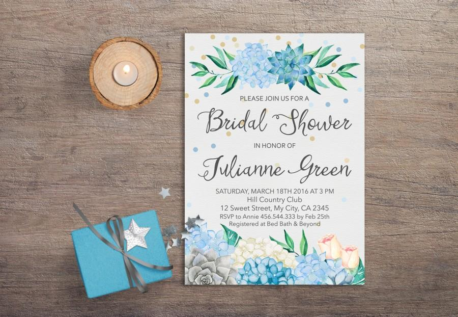 succulent bridal shower invitation printable boho bridal shower invitation mint blue floral bridal shower invitation hydrangea invitation