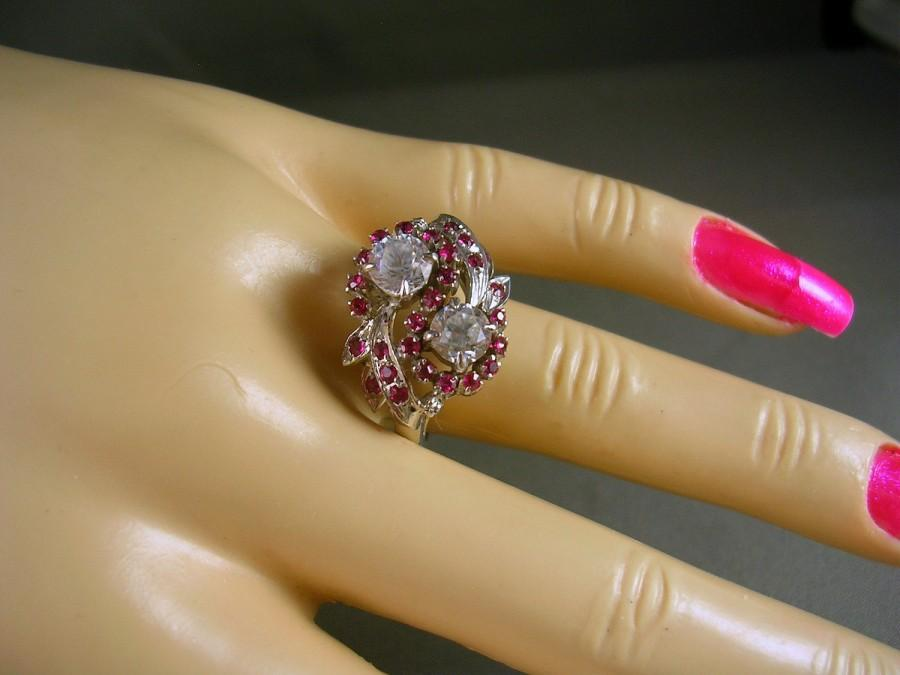 Wedding - Antique 1940s White Sapphire and Ruby Ring size 7.5 white gold 14K 2.08 carats 5.5 grams