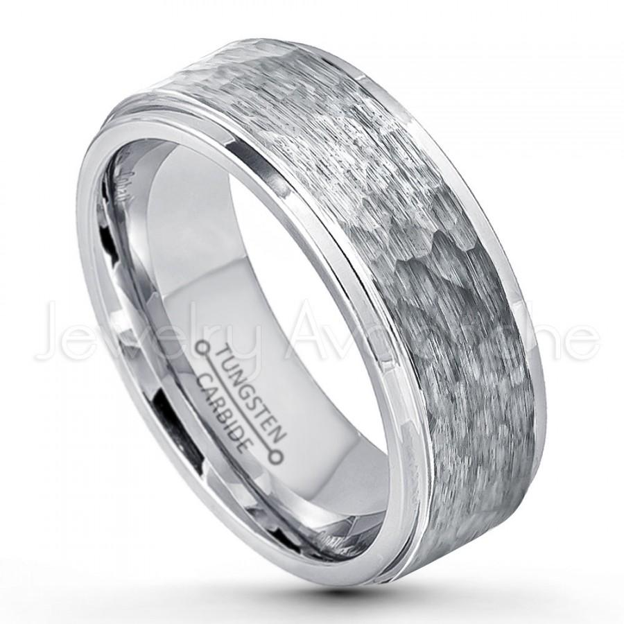 9mm Hammered Finish Tungsten Wedding Band Stepped Edge Comfort