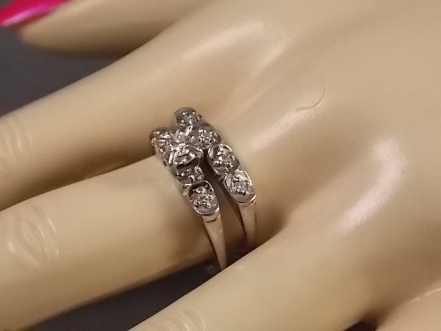 Mariage - 1950s Diamond Wedding Set .27Ctw White Gold 14K 4.5gm Size 7.75 True Vintage Set