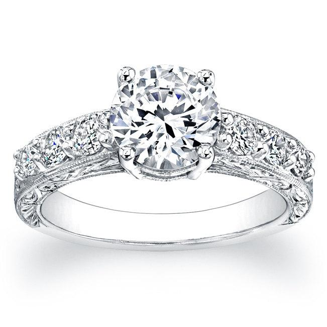 Mariage - Ladies 14kt white gold antique engagement ring 0.50 ctw G-VS2 Round Pave-set diamonds with 1ct Round White Sapphire Ctr