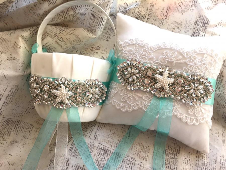 Hochzeit - Beach Flower Girl Basket and Ring Bearer Pillow, Beach Ring Bearer pillow, Beach Ring Cushion, Starfish Flower Girl Basket, Blue Ring Pillow