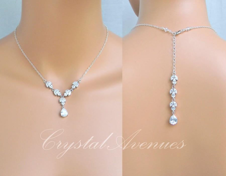 Backdrop Bridal Necklace Simple Crystal Wedding Necklace Bridal