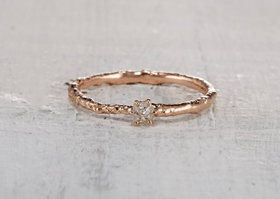 Wedding - Rough Cut Diamond Twig Engagement Promise Ring – Uncut Diamond Ring in Yellow Gold, White Gold, Rose Gold or Platinum // Brooks Ring