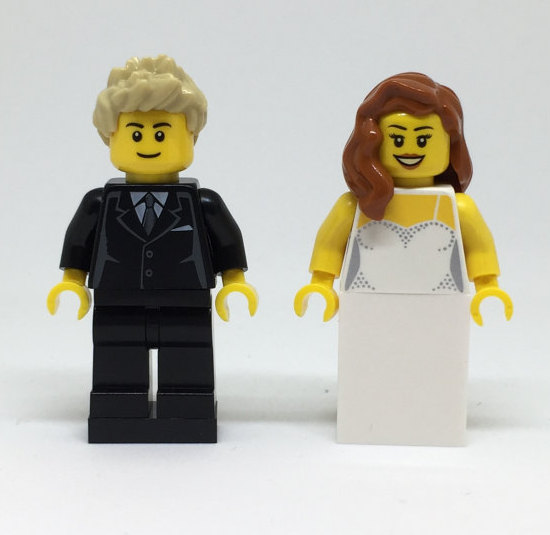 LEGO Bride And Groom With Detailed Dress, LEGO Cake Topper LEGO