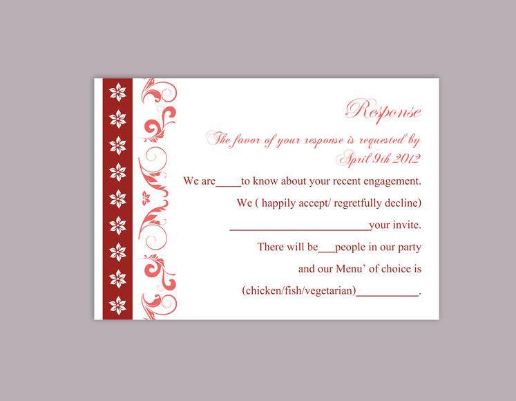 Свадьба - DIY Wedding RSVP Template Editable Word File Instant Download Rsvp Template Printable RSVP Cards Wine Red Rsvp Card Elegant Rsvp Card - $6.90 USD