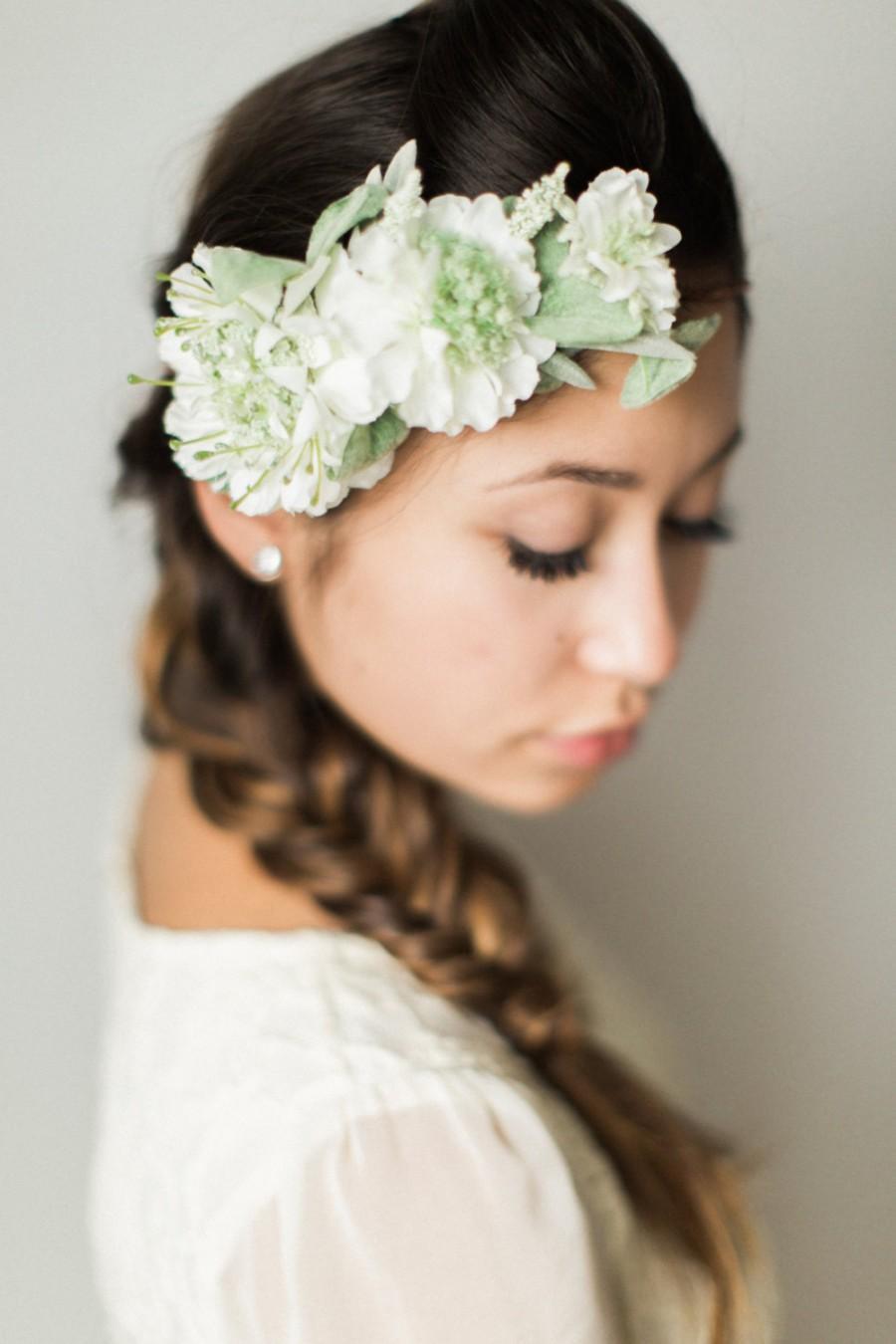 wedding flower crown bridal headpiece floral halo wedding wreath ivory flower headband. Black Bedroom Furniture Sets. Home Design Ideas