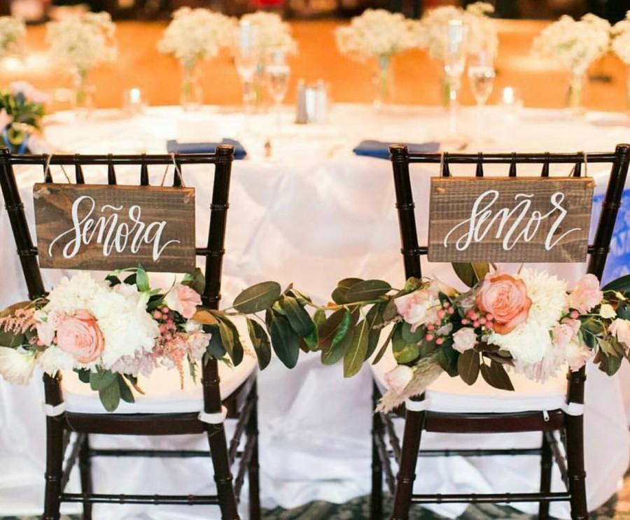 Mariage - Señor & Señora Signs, Rustic Wedding Signs, Chair Signs, Spanish Weddings, Photo Prop Signs, Rustic Wedding Decor