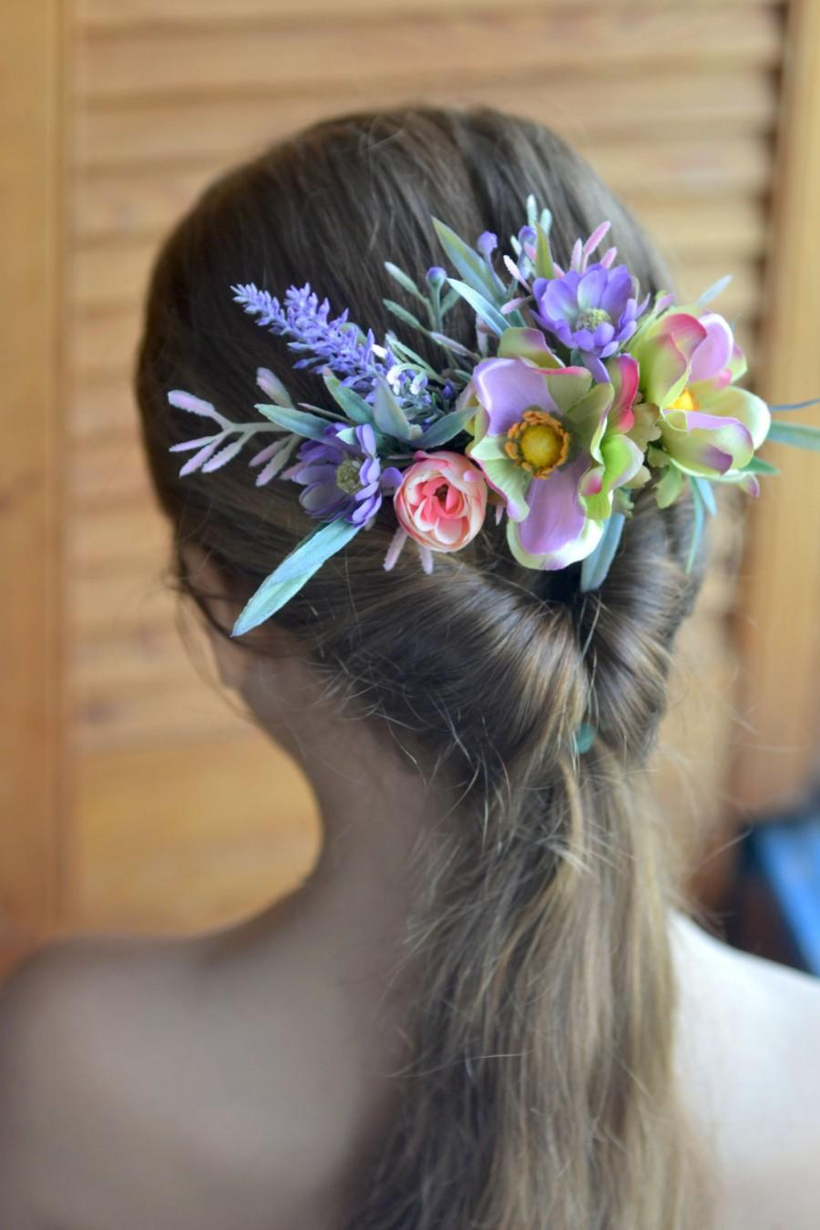 Purple floral comb lavender anemone comb bridal flower headpiece purple floral comb lavender anemone comb bridal flower headpiece wedding flower comb silk flower back hair dress floral hair accessory mightylinksfo