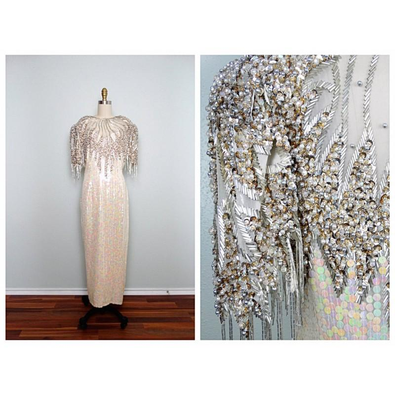 Mariage - Heavily Beaded Sequined Gown / Iridescent Ivory Embellished Dress / Silver Fringe Beaded Wedding Gown L XL - Cheap Beautiful Dresses