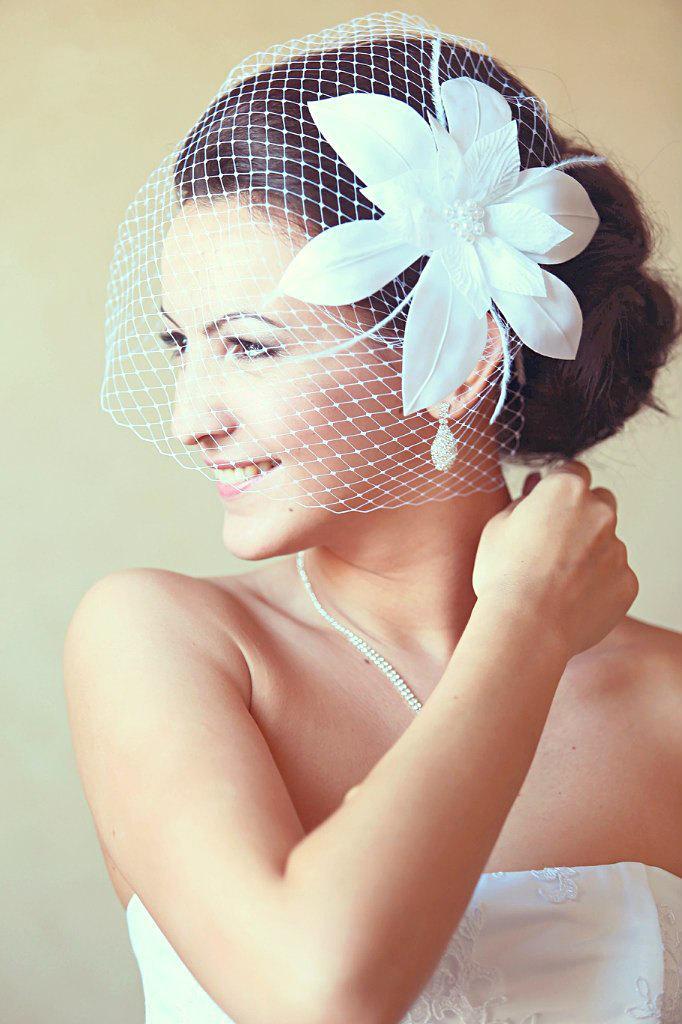 Birdcage Veil Wedding Hairstyles Fascinator Bridal Hair Headpiece Updos White