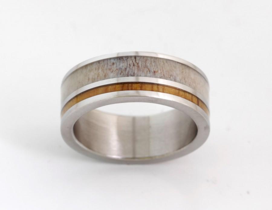 Свадьба - Antler wedding band wood wedding ring mens wedding band titanium band man jewelry woman wedding band antler ring