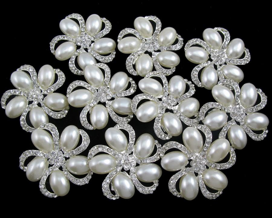 Свадьба - Lot 10x Crystal Pearl Rhinestone Brooch Pin Wedding Brooch Bridal Brooch Bouquet Brooch Wedding Invitation Wedding Supplies Cake Decor Favor