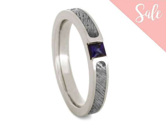Свадьба - On SALE - Womens Blue Sapphire Engagement Ring Or Mens Meteorite Wedding Band, White Gold Ring With Meteorite Inlays